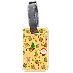 Santa And Rudolph Pattern Luggage Tags (one Side)  by Valentinaart
