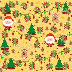 Santa And Rudolph Pattern Magic Photo Cubes by Valentinaart