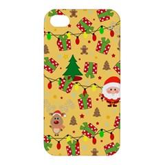 Santa And Rudolph Pattern Apple Iphone 4/4s Premium Hardshell Case by Valentinaart