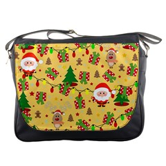 Santa And Rudolph Pattern Messenger Bags by Valentinaart