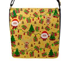 Santa And Rudolph Pattern Flap Messenger Bag (l)  by Valentinaart