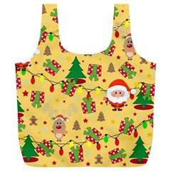 Santa And Rudolph Pattern Full Print Recycle Bags (l)  by Valentinaart