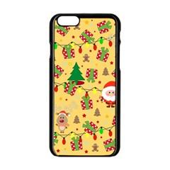 Santa And Rudolph Pattern Apple Iphone 6/6s Black Enamel Case by Valentinaart