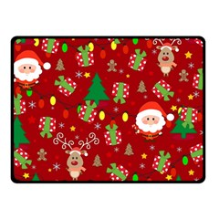 Santa And Rudolph Pattern Fleece Blanket (small) by Valentinaart