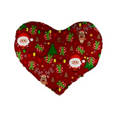 Santa And Rudolph Pattern Standard 16  Premium Heart Shape Cushions by Valentinaart