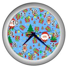 Santa And Rudolph Pattern Wall Clocks (silver)  by Valentinaart