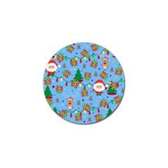 Santa And Rudolph Pattern Golf Ball Marker by Valentinaart