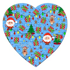 Santa And Rudolph Pattern Jigsaw Puzzle (heart) by Valentinaart