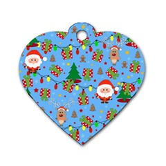 Santa And Rudolph Pattern Dog Tag Heart (one Side) by Valentinaart