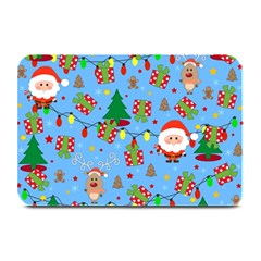 Santa And Rudolph Pattern Plate Mats by Valentinaart