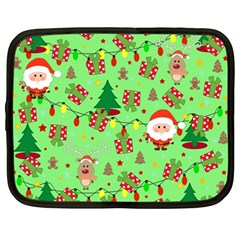 Santa And Rudolph Pattern Netbook Case (large) by Valentinaart