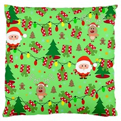 Santa And Rudolph Pattern Large Cushion Case (one Side) by Valentinaart