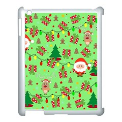 Santa And Rudolph Pattern Apple Ipad 3/4 Case (white) by Valentinaart