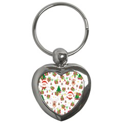 Santa And Rudolph Pattern Key Chains (heart)  by Valentinaart