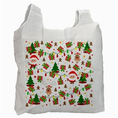 Santa And Rudolph Pattern Recycle Bag (one Side) by Valentinaart