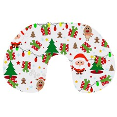 Santa And Rudolph Pattern Travel Neck Pillows by Valentinaart