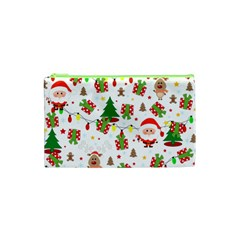Santa And Rudolph Pattern Cosmetic Bag (xs) by Valentinaart