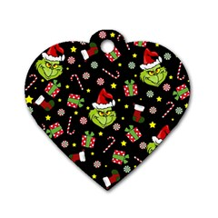 Grinch Pattern Dog Tag Heart (one Side) by Valentinaart
