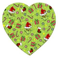 Grinch Pattern Jigsaw Puzzle (heart) by Valentinaart