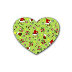 Grinch Pattern Heart Coaster (4 Pack)  by Valentinaart