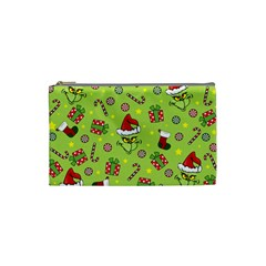 Grinch Pattern Cosmetic Bag (small)  by Valentinaart