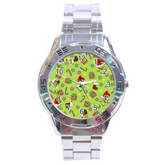 Grinch Pattern Stainless Steel Analogue Watch by Valentinaart