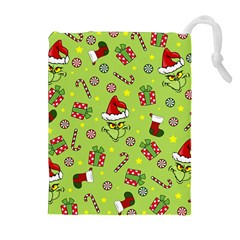 Grinch Pattern Drawstring Pouches (extra Large) by Valentinaart