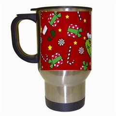 Grinch Pattern Travel Mugs (white) by Valentinaart