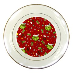 Grinch Pattern Porcelain Plates by Valentinaart