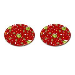Grinch Pattern Cufflinks (oval) by Valentinaart