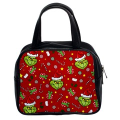 Grinch Pattern Classic Handbags (2 Sides) by Valentinaart