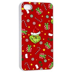 Grinch Pattern Apple Iphone 4/4s Seamless Case (white) by Valentinaart
