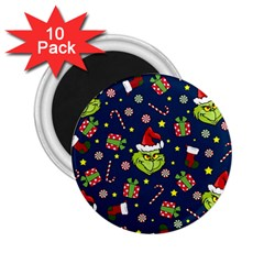 Grinch Pattern 2 25  Magnets (10 Pack)  by Valentinaart