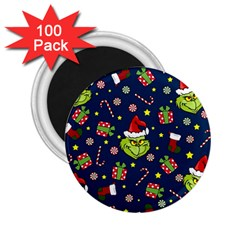 Grinch Pattern 2 25  Magnets (100 Pack)  by Valentinaart