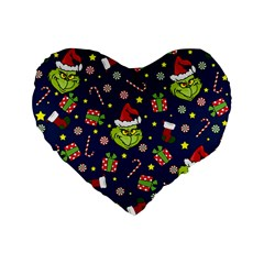 Grinch Pattern Standard 16  Premium Flano Heart Shape Cushions by Valentinaart
