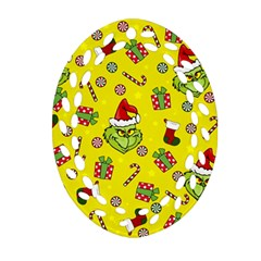 Grinch Pattern Oval Filigree Ornament (two Sides) by Valentinaart