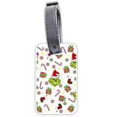 Grinch Pattern Luggage Tags (one Side)  by Valentinaart