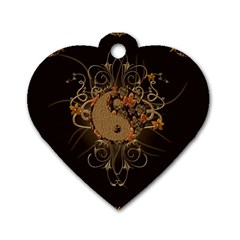 The Sign Ying And Yang With Floral Elements Dog Tag Heart (two Sides) by FantasyWorld7