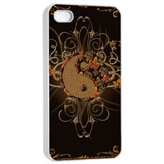 The Sign Ying And Yang With Floral Elements Apple Iphone 4/4s Seamless Case (white) by FantasyWorld7