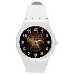 The Sign Ying And Yang With Floral Elements Round Plastic Sport Watch (m) by FantasyWorld7