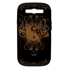 The Sign Ying And Yang With Floral Elements Samsung Galaxy S Iii Hardshell Case (pc+silicone) by FantasyWorld7