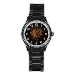 The Sign Ying And Yang With Floral Elements Stainless Steel Round Watch by FantasyWorld7