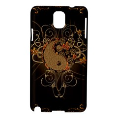 The Sign Ying And Yang With Floral Elements Samsung Galaxy Note 3 N9005 Hardshell Case by FantasyWorld7
