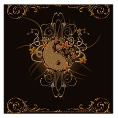 The Sign Ying And Yang With Floral Elements Large Satin Scarf (square) by FantasyWorld7