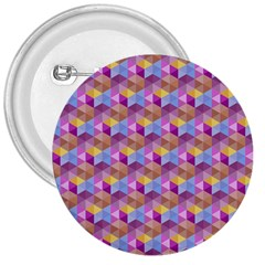 Hexagon Cube Bee Cell Pink Pattern 3  Buttons by Cveti