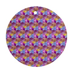 Hexagon Cube Bee Cell Pink Pattern Round Ornament (two Sides) by Cveti