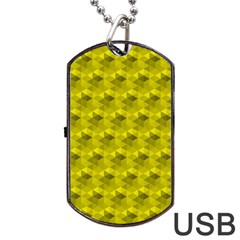 Hexagon Cube Bee Cell  Lemon Pattern Dog Tag Usb Flash (two Sides) by Cveti