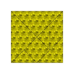 Hexagon Cube Bee Cell  Lemon Pattern Acrylic Tangram Puzzle (4  X 4 ) by Cveti
