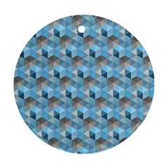 Hexagon Cube Bee Cell  Blue Pattern Round Ornament (two Sides) by Cveti