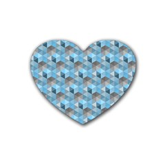 Hexagon Cube Bee Cell  Blue Pattern Heart Coaster (4 Pack)  by Cveti